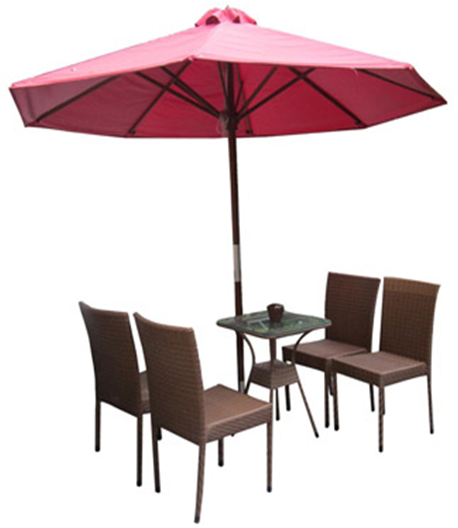 Set Of PE Rattan Coffee Table With Chairs And Umbrella - Coffee table with 4 chairs