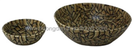 Set of 2 round bowls with incrusted bamboo